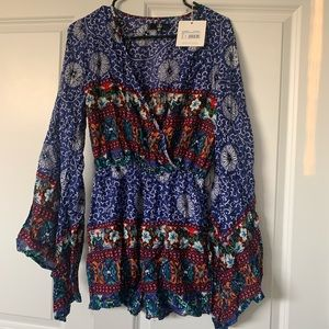 Blue Mixed Print Long Sleeve Wrap Romper